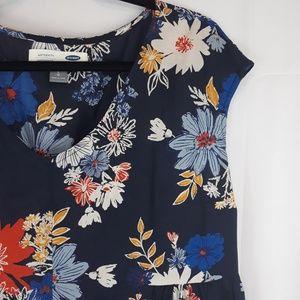 Maternity Old Navy Floral V-Neck Top Blue SZ L